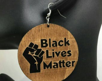 Black Lives Matter wooden earrings.