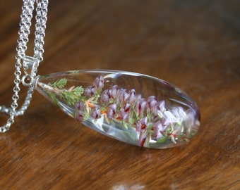 Heather- flowers in resin teadrop, necklace with chain
