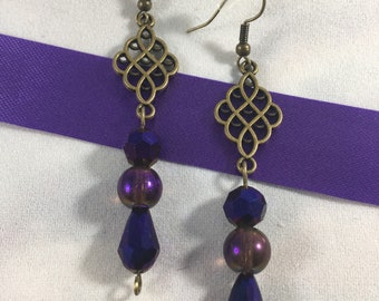 Purple and Antique Gold Drop Earrings