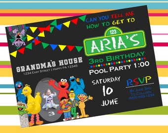 Digital Sesame Street Birthday Party Invitation
