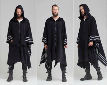 Black Poncho Cape , Kimono Coat Urban Hooded Jacket Man Hoodie Coat Maxi Hooded Coat Oversized Black Cardigan Birthday Gift for Men A0061