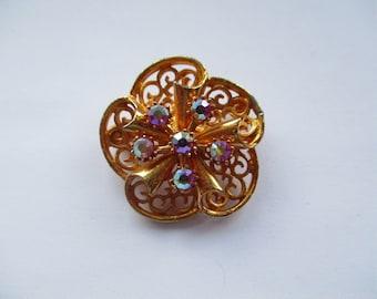 Vintage Gold Tone Filligree Scroll Brooch with Mirror Glass Rhinestones, Filligree Brooch, Mirrored Glass Rhinestones