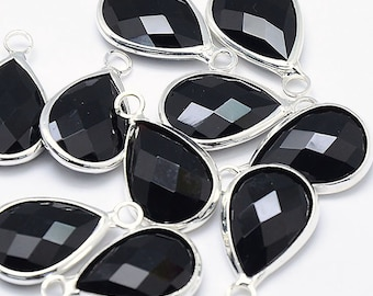 2 Black Faceted Glass Pendants, Tear Drop with a Smooth Silver Plated Bezel