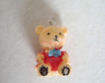 Bear 3D pendant with red and orange
