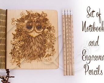 Blooming petit Corbeau naturel contreplaqué cahier et crayons gravés 4 ensemble