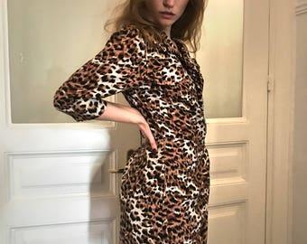 lion heart dress/vintage 90s mini dress/wraparound dress/grunge/leopard dress/animal print dress/boho mini dress/mini dress/xs/s