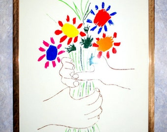 "Collectible vintage 60s print ""Bouquet of Peace"" by Pablo Picasso .Large. Professionally framed."