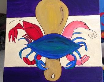 New Orleans Seafood Fleur de Lis painting