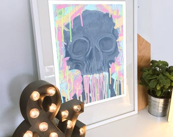 Technicolour Skull Print Digital Download