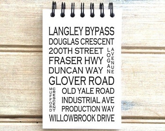 Langley B.C. - Love This Place - Street Name Notebook - Busroll Notepad Journal Custom Gift - Vancouver Canada