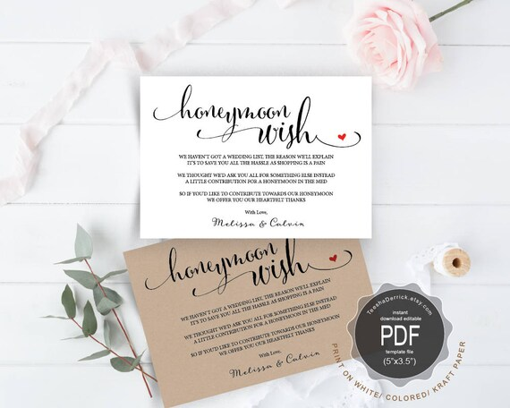 honeymoon wish pdf card template instant download printable