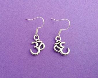 ohm earrings, yoga earrings, yoga jewelry, om earrings, ohm, ohm jewelry, om jewelry, gift for yoga lover, yoga gifts, yoga christmas gift
