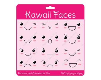 Cute Kawaii Faces Digital Scrapbook Embellishments and Clipart Instant Download