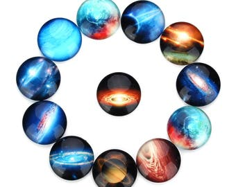 20Pieces 10-25mm Mixed Round Flatback starry sky photo glass cabochon,flatback round glass cabochon for jewelry making,art
