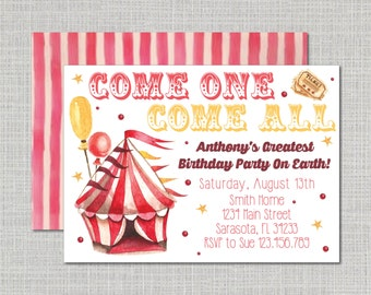 Birthday Party Invitation // Circus Theme Party // Kid's Birthday // Come One Come All // Circus Invitation // Circus Birthday Invitation
