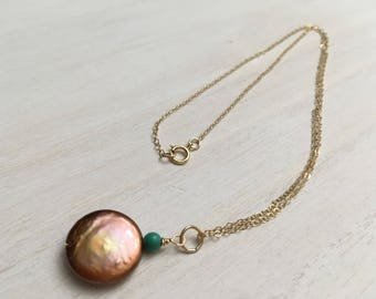 Copper Brown Coin Pearl Chain Necklace, Genuine Turquoise Necklace 14K Gold Filled, Cultured Freshwater Pearl Pendant Layering Necklace