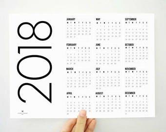 Slim Printable Calendar, Yearly Calendar, 2018 Calendar, 2018 Printable Calendar, Wall Calendar, 2018 Planner, Minimal Calendar, PDF Planner