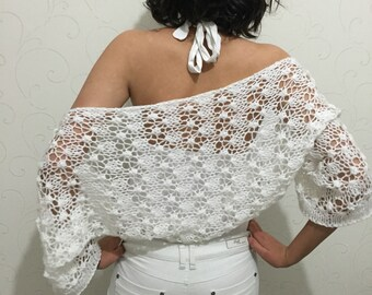 Bridal shrug, white wedding shrug, knit bolero, summer top shrug, wedding accessories