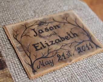 Custom Wedding Guest Book leather and burlap rustic wedding guest book bridal shower engagement anniversary