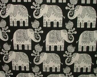 Elephant Black Cotton Jacquard Curtain Upholstery Fabric