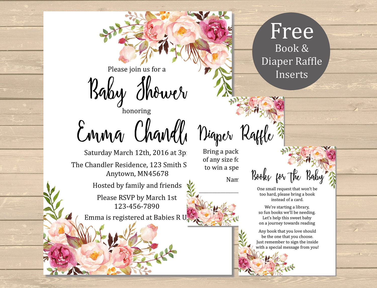 Printable boho floral baby shower invitation book insert zoom filmwisefo Choice Image