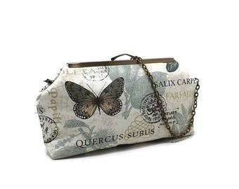 Butterfly Handbag / Clutch Purse /Detachable Antique Brass Chain / Teal Blue / Seafoam / Ready to ship