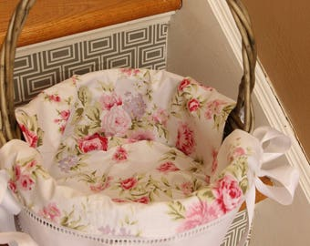 READY GIRL medium 11 inch Heirloom Easter liner and basket soft floral print with insertion lace
