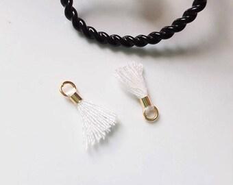 2 x mini White PomPoms tassels with gold ring