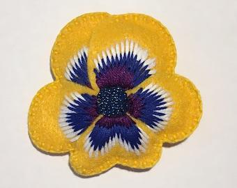 Felt Pansy Brooch in Yellow