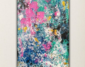 Abstract painting, colorful art, Original abstract painting, wall art, turquoise and pink, canvas 15x30""