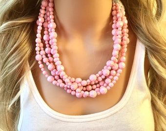 Blush Pink Beaded Necklace, pink Jewelry, 5 strand Chunky statement necklace, big beaded necklace, blush jewelry, pink statement necklace