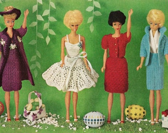 "Instant PDF Download Vintage Crochet Pattern to make Dresses Jacket Coat Skirt + Suit for 12"" Teenage Fashion Dolls like Barbie & Sindy"