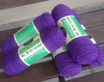 Five Skeins of Frosty Grape Sayelle Sport Weight 2 Ply Yarn