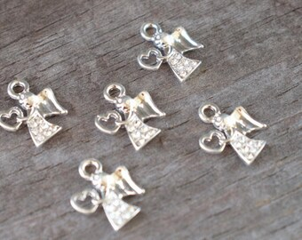 2 Tiny Rhinestone Angel Charms Silver Plated 17mm