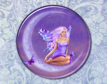 Fantasy Art Lavender Moon Fairy Pocket Mirror