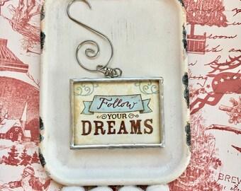 Suivez vos rêves - décoration de bureau - pressé de sapin - inspiration - de fleur Marguerite - rêves