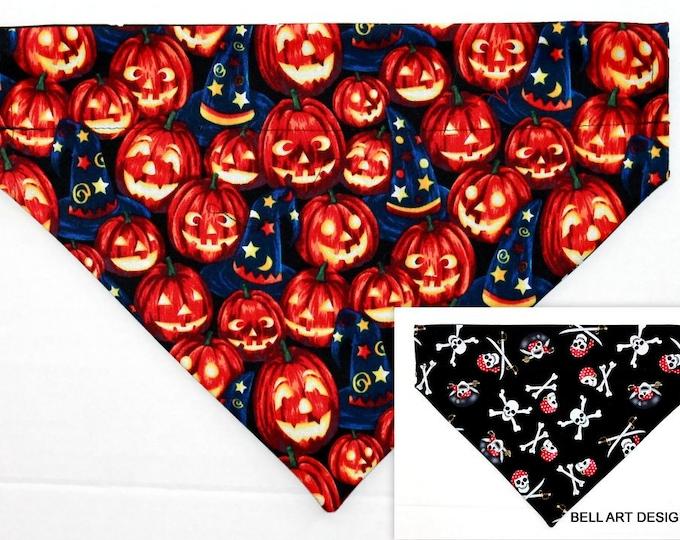 HALLOWEEN ~ Pumpkins, Pirates, Over the Collar ~ Reversible ~ Dog Pet Bandana ~ Bell Art Designs ~ Large DCL741