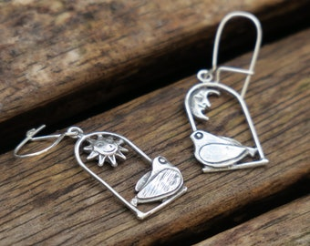 Sterling Silver Bird Earrings, Silver Dangle Earrings, Sterling Silver Earrings,  Nature Earrings, Silver Earrings, Bird Earrings