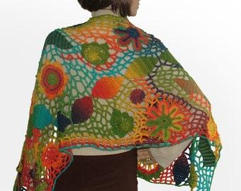 Crochet Scarf, Freeform Crochet Shawl, Wrap, Stole, Freeform Crochet, Wearable Art, Rainbow Colors
