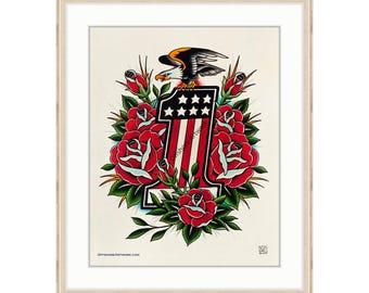 "Harley Davidson #1 Giclee Print 11""x14"". Motorcycle Engine. Rose Tattoo Flash. Vintage Bike. Bald Eagle. Americana. Biker Art. Evel Knievel."