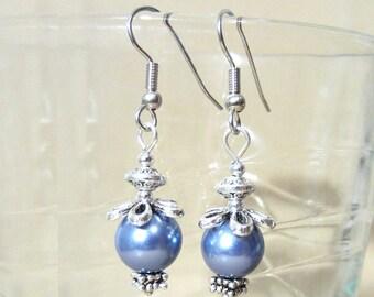 Blue Pearl Earrings, Cornflower Pearl Silver Daisy Dangle Earrings w/Detailed Silver Accents, Colored Pearl Earrings Handmade Beaded Jewelry