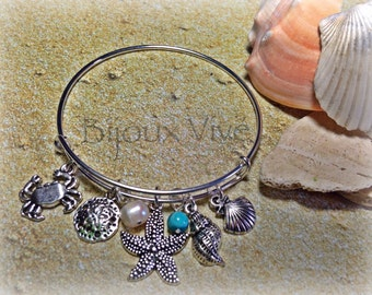 Beach Jewelry - Beach Charm Bracelet - Beach Bracelet - Beach Wedding - Seashell Jewelry - Mermaid Jewelry - Starfish Bracelet- Sand Dollar