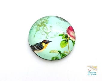 2 cabochons 25mm glass bird and pink (cab138)