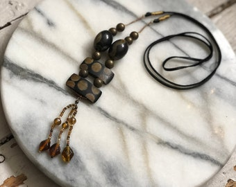 OOAK Reimagined Vintage Neckpiece wood beads glass leather eco-friendly