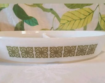 Vintage Pyrex Verde Square Flowers Divided Dish