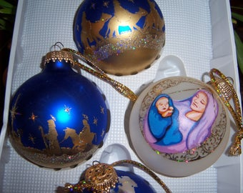 Vintage Glass Celebrate the Season Krebs Mexico Christmas Ornaments in Box Royal Blue Gold Mary Baby Jesus