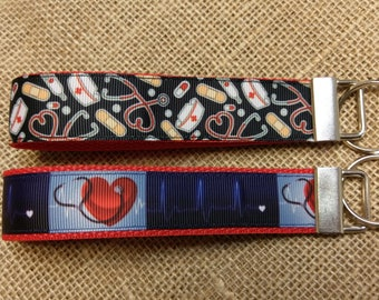 Medical, Nurse, Doctor Keychain Wristlet Key Fob. Wrist lanyard. Stethoscope, EKG, ECG, first aid, EMT
