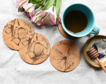 Floral Magnolia Wood Drink Coasters. Housewarming Gift. Mothers Day Gift Magnolia Rustic Home Decor.  (Set of 4)