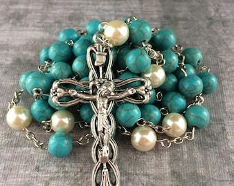 Turquoise Rosary, Blue Rosary, Aqua Rosary, Catholic Rosary, Traditional Catholic Rosary, Handmade Rosary, FREE SHIPPING!