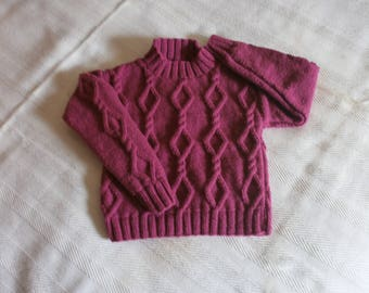 mixed sweater size 4 years old hand made raspberry color